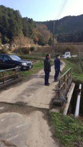 野上野地区ため池改修事業を現地調査